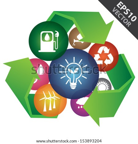 Vector : Save The Earth, Recycle, Environment or Ecology Concept Present By Group of Colorful Ecology Icon Inside The Green Recycle Sign Isolated on White Background  - stock vector