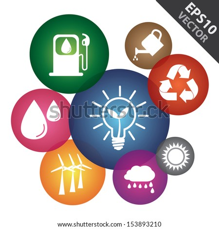 Vector : Save The Earth, Recycle, Environment or Ecology Concept Present By Group of Colorful Ecology Icon Isolated on White Background  - stock vector