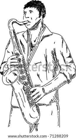 vector - Saxophone player, isolated on background