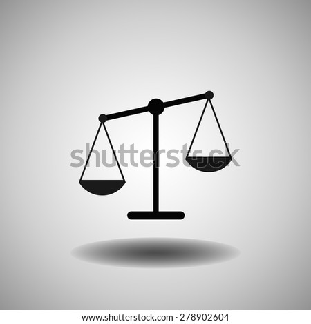 Vector scales balance icon in flat style. White silhouette of Libra - stock vector