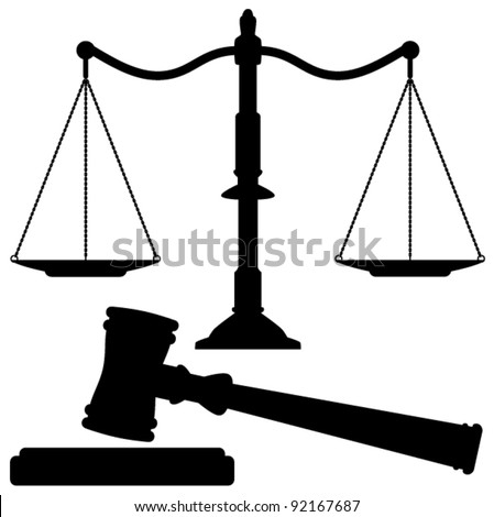 vector scales of justice and gavel - stock vector