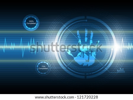 vector scan handprint security, abstract technology background - stock vector