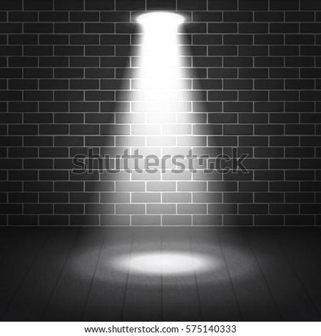 Vector Scene Illuminated Spotlight Gray Bricks Wall Background