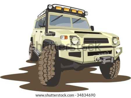 vector scene of car for bad roads - stock vector