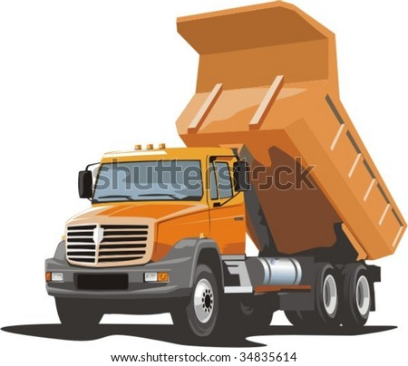 vector scene of the building dump truck for loose material - stock vector
