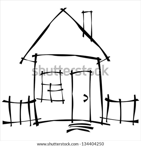 vector scetch house - stock vector