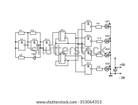 vector schematic diagram project electronic circuit stock vector rh shutterstock com