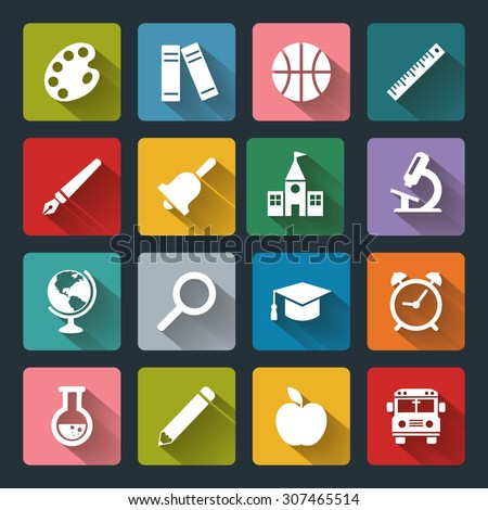 Vector School and Education flat icons, white on colored square basis.