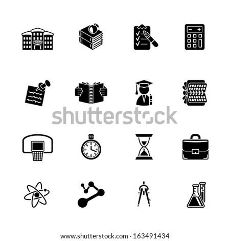 vector school and education icon set - stock vector