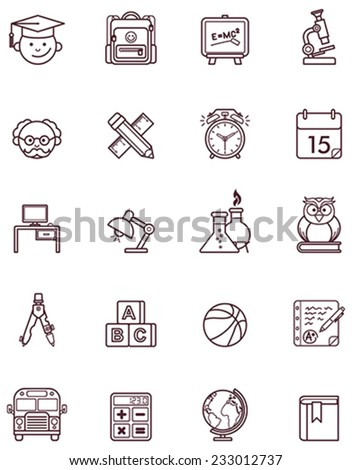 Vector school and education icon set