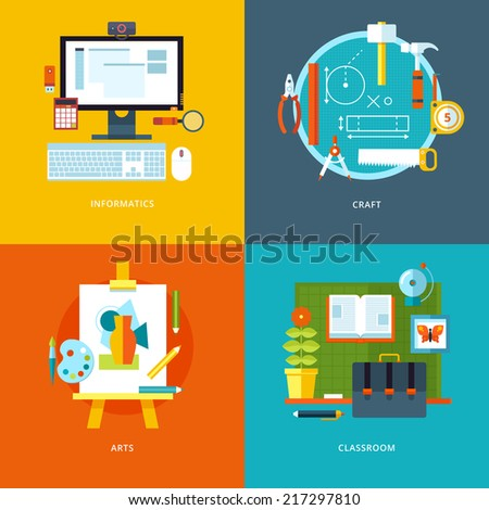 Vector school and education icons set for web design and mobile apps. Illustration for informatics, craft, arts and classroom stuff. - stock vector