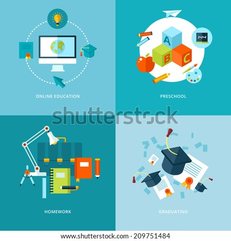Vector school and education icons set for web design and mobile apps. Illustration for online education, preschool, homework and graduating. - stock vector