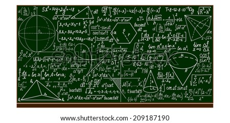 Vector school blackboard with handwritten mathematical calculations - stock vector