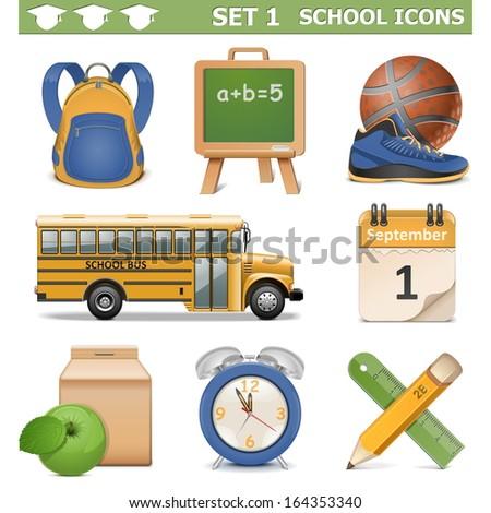 Vector School Icons Set 1 - stock vector
