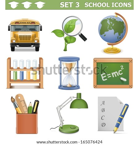 Vector School Icons Set 3 - stock vector