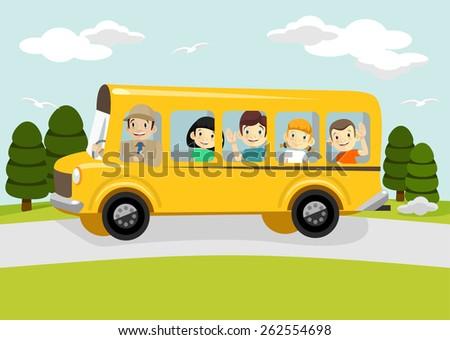Vector school illustration - stock vector