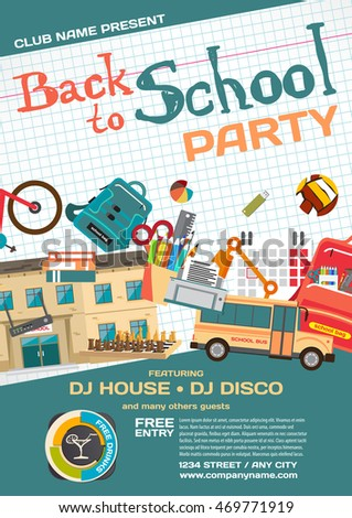 Vector school party invitation disco style stock vector royalty vector school party invitation disco style meeting of graduates high school students school stopboris Image collections