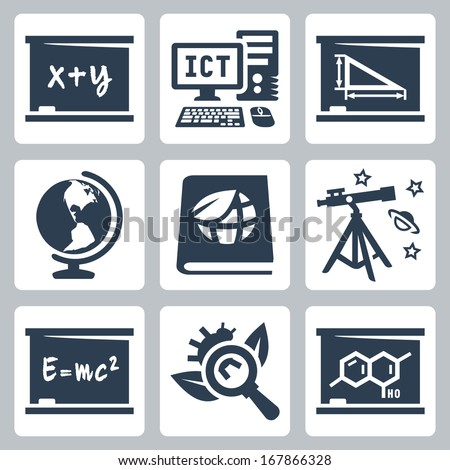 Vector school subjects icons set: algebra, ICT, geometry, geography, ecology, astronomy, physics, biology, chemistry - stock vector