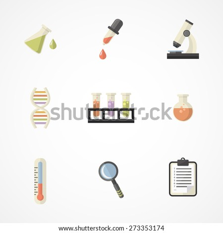 Vector science and research icons for learning and web applications .Flat design.Part III - stock vector