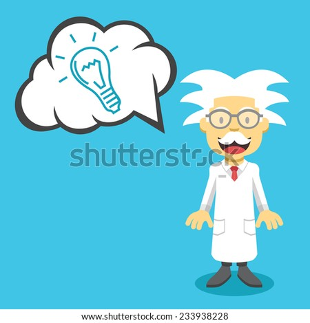 Vector scientist professor and speech bubble with hand drawn idea lightbulb. Creative vector flat illustration. Cute mascot concept. Trendy style graphic design elements. Isolated on blue background. - stock vector