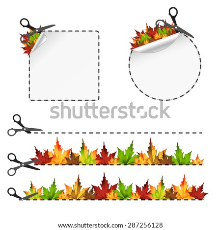 Vector scissors cut sticker. Autumn leaf 10eps - stock vector