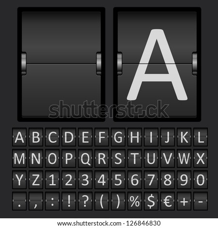 Vector Scoreboard Letters and Numbers Alphabet mechanical panel - stock vector