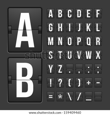 Vector scoreboard letters and symbols alphabet mechanical panel - stock vector