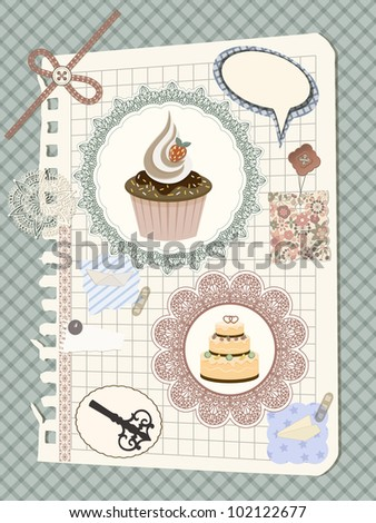 vector scrapbook with napkin and cakes, toys, and other design elements, elements can be used separately, eps 10 transparency effects
