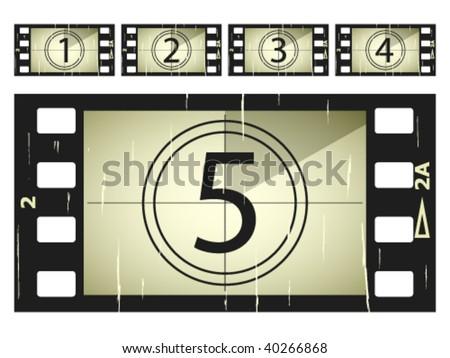 vector scratched film strips - stock vector