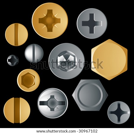 Vector screw and bolt heads - stock vector
