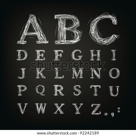 Vector scribbled alphabet in a black board