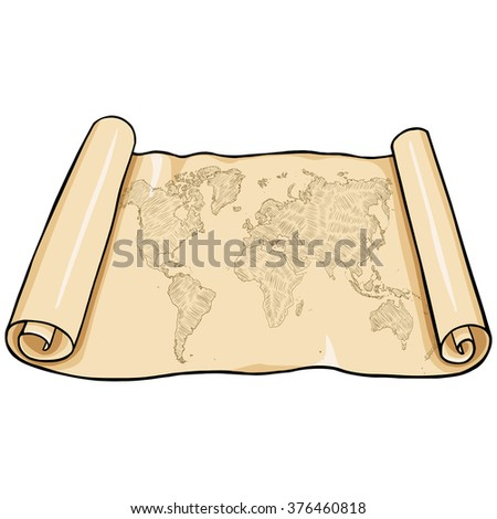 Vector Scroll with World Map - stock vector