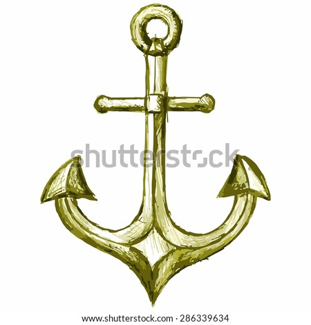 Vector sea anchor. Equipment used in navigation - stock vector