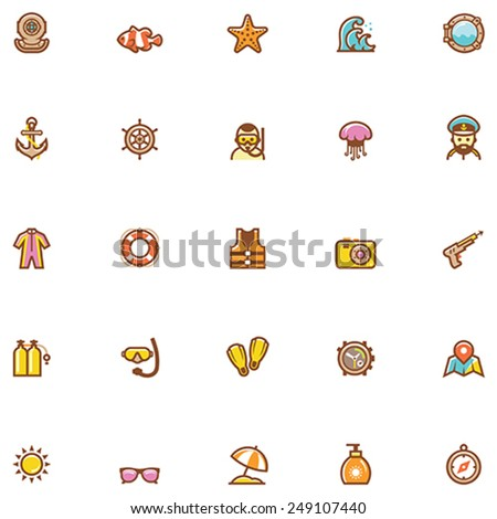 Vector sea and beach vacations icon set