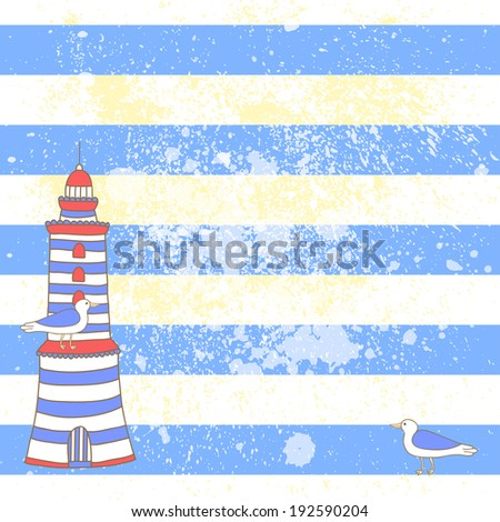 Vector sea background with blue and white stripes and hand drawing. Vintage summer backdrop. - stock vector