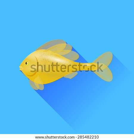 Vector Sea Cartoon Gold Fish Isolated on Blue Background. - stock vector