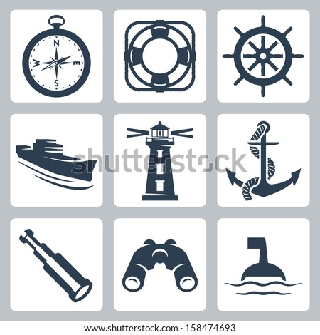 Vector sea icons set: compass, ring-buoy, steering wheel, ship, lighthouse, anchor, spyglass, binoculars, buoy