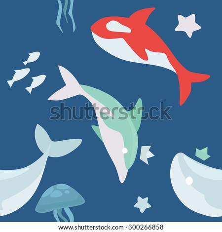 Vector sea life animals seamless pattern with dolphin, whale, jellyfish, fishes, sea stars and so on in flat modern design - stock vector