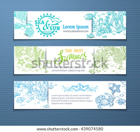 Vector sea life horizontal banners. Contours of fish, starfish, crab, shell, jellyfish, seaweed, bottle with a letter and key on the bottom. There is place for your text on white paper. - stock vector