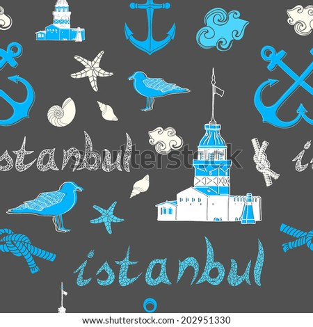 Vector sea of Istanbul seamless abstract pattern. - stock vector
