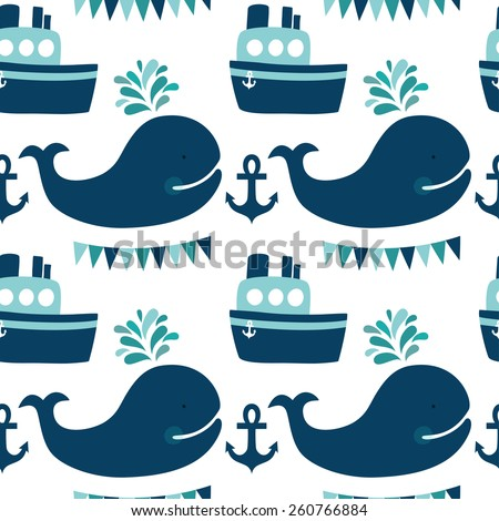 Vector sea seamless pattern with whales, ship, anchors, flags. Cute childish background with cartoon character. - stock vector