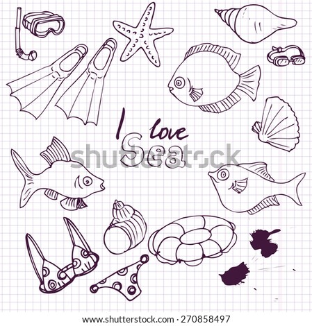 vector sea set of ink drawing sketch, hand drawn infographic sketches, isolated design elements