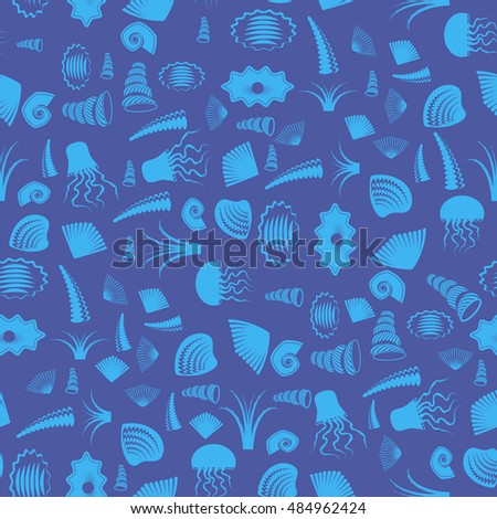 Vector Sea Shell Silhouette Seamless Pattern on Blue. Jellyfish Background