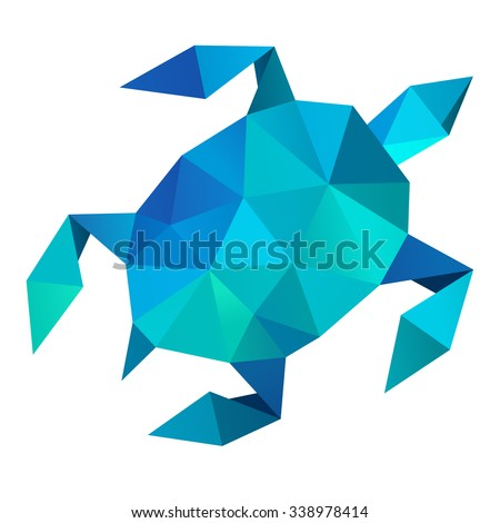 Vector - sea turtle geometric (illustration of a many triangles) - stock vector