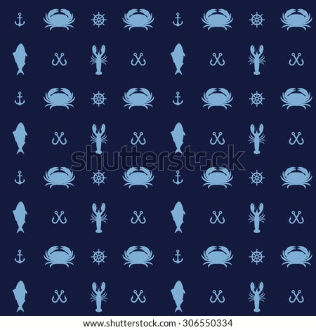 vector seafood design elements and sea icons. Seamless pattern can be used for wallpaper, pattern fills, background, textures