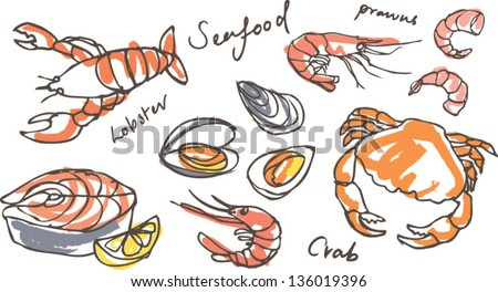 Vector seafood drawing set