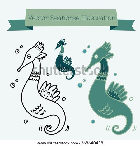 Vector seahorse illustration. Outline and colored. - stock vector