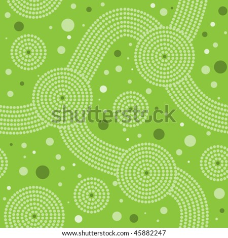 vector seamless aboriginal pattern with green dot art - stock vector