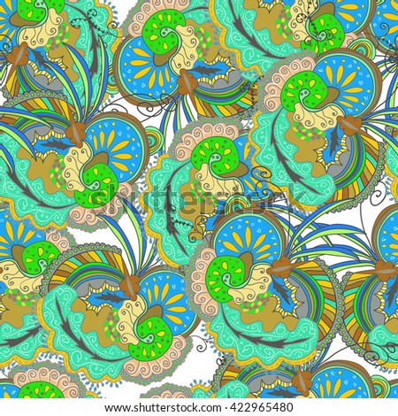 Vector seamless abstract boho colored pattern with floral ornament. Hand drawn repeating element.  Ethnic background. Gypsy pattern. - stock vector