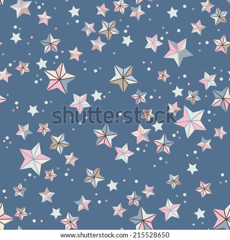 vector seamless abstract geometric small stars and dots print, design, pattern - stock vector